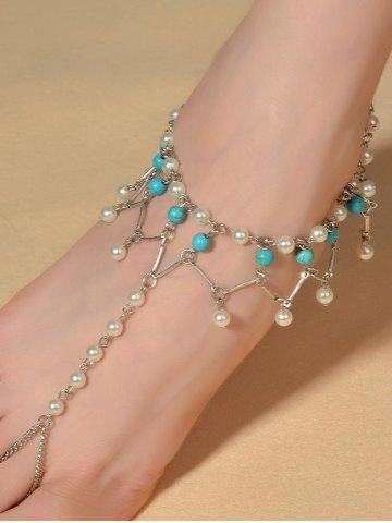 Fashion Graceful Faux Turquoise Wedding Jewelry Beaded Anklets SILVER