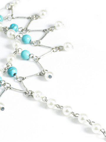 Fancy Graceful Faux Turquoise Wedding Jewelry Beaded Anklets - SILVER  Mobile