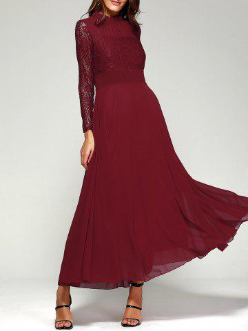 Latest Lace Panel Long Sleeve Chiffon Maxi Formal Prom Dress WINE RED M