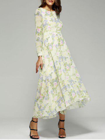 Online Floral Printed Long Sleeve Asymmetrical Maxi Dress