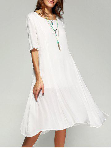 Store Pure Color Casual Dress with Half Sleeves