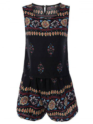 Fashion Bohemian Printed Tank Top and Shorts