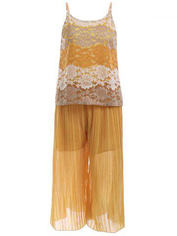 Buy Lace Tank Top and Pleated Elastic Waist Palazzo Pants