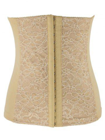 Buy Trendy Lacework Spliced Tight Lacing Corset - Apricot 2XL
