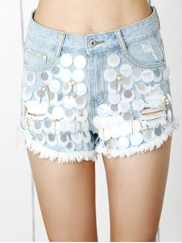 New Trendy Ripped Fringe Sequined Distressed Beaded Denim Shorts
