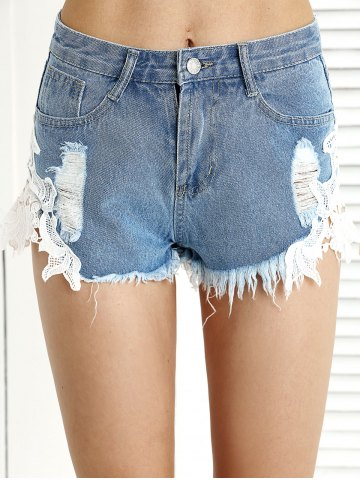 Cheap Trendy Ripped Fringe Lace Spliced Denim Shorts