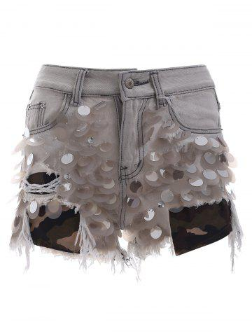 Store Trendy Ripped Fringe Scale Sequined Distressed Denim Shorts