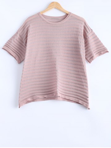 Unique Stylish Ribbed Stripe Thin Pure Color Knitted T-Shirt