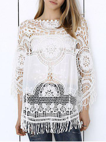 Affordable Sweet Anaglyph Crochet Fringe See-Through Cape Blouse