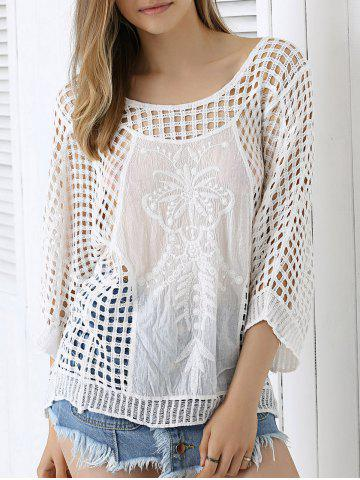New Chic Plaid Crochet See-Through Blouse