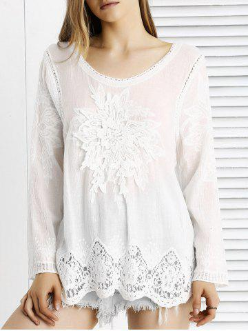 Store Chic Lace Crochet Trim See-Through Floral Spliced Blouse
