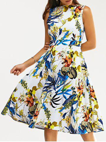 Retro Colorful Flower Print Skater Party Dress - Colormix - M
