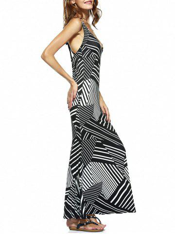 Stripe Plunge Backless Long Night Out Dress