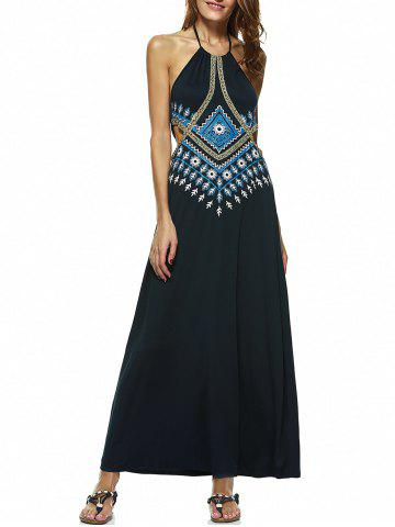 Unique Bohemian Halter Neck Printed Long Cutout Backless Dress - L PURPLISH BLUE Mobile