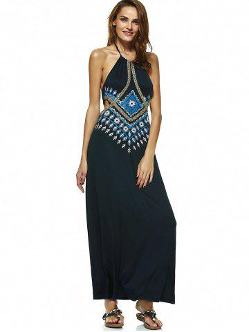Outfit Bohemian Halter Neck Printed Long Cutout Backless Dress - L PURPLISH BLUE Mobile