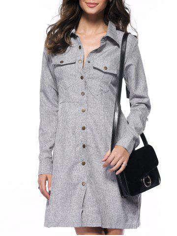 Long Sleeve Button Down Marled Pocket Tunic Shirt Dress - Gray - S