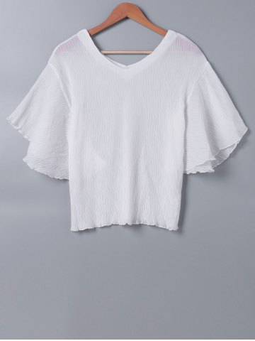 Unique Butterfly Sleeve Pleated White Blouse