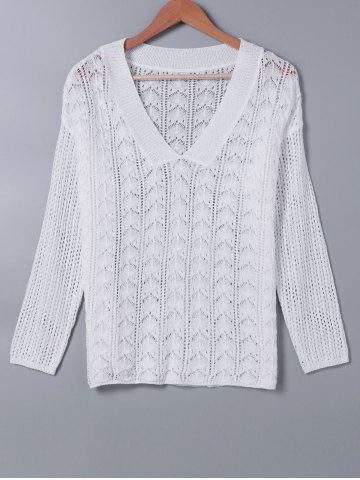 Fancy V Neck Hollow Out Long Sleeves Knitwear