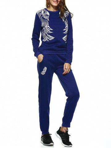 Shop Wing Print Sweatshirt and Jogger Sports Pant SAPPHIRE BLUE XL