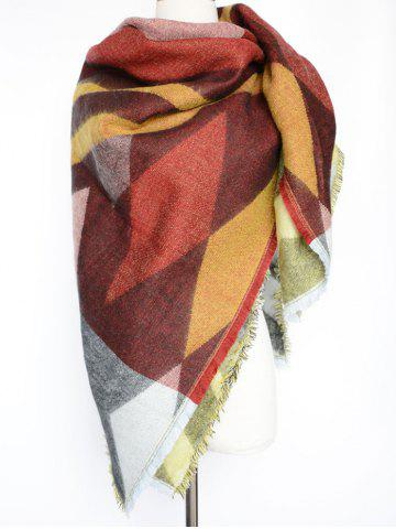 Hot Stylish Rhombus Pattern Wrap Scarf CLARET