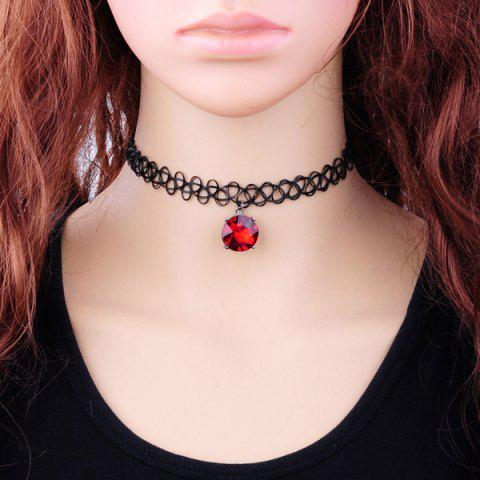 Cheap Vintage Faux Zircon Tattoo Choker Necklace RED