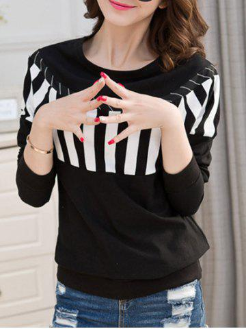 Unique Striped Crew Neck T-Shirt BLACK 2XL