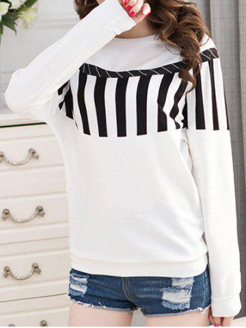 Striped Crew Neck T-Shirt - White - 2xl