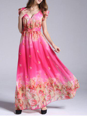 Chic Boho Floral Swing Maxi Chiffon Beachwear Dress ROSE RED 3XL