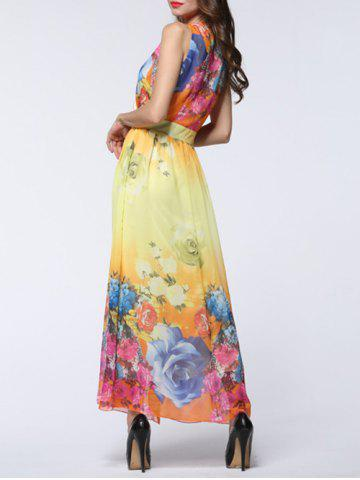 Cheap Maxi Chiffon Floral Swing Beach Dress - 2XL YELLOW Mobile