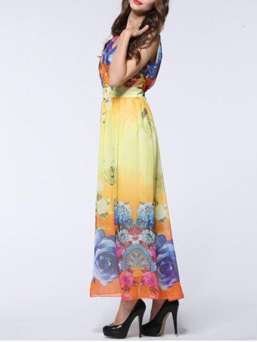 Outfit Maxi Chiffon Floral Swing Beach Dress - L YELLOW Mobile