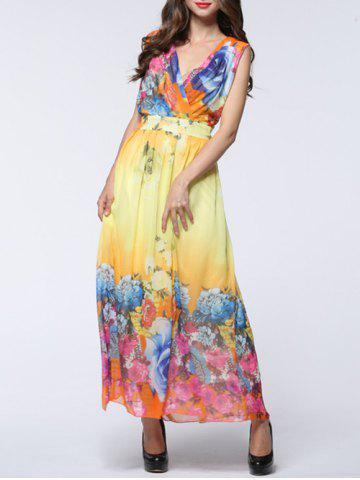 Maxi Chiffon Floral Swing Beach Dress - Yellow - L
