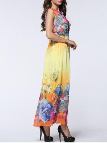 Cheap Maxi Chiffon Floral Swing Beach Dress - L YELLOW Mobile