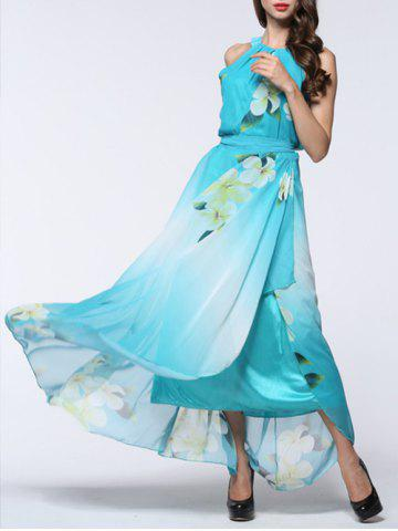 Boho Floral Maxi Chiffon Flowy Beach Dress - Light Blue - 5xl
