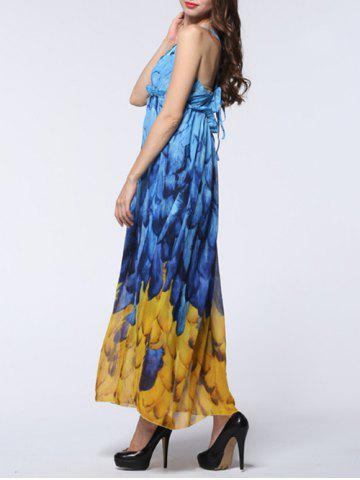 Shops Feather Print Backless Chiffon Maxi Beachwear Dress - 2XL BLUE AND YELLOW Mobile