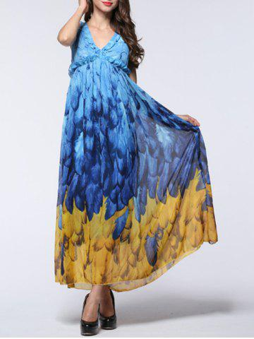 Shops Feather Print Backless Chiffon Maxi Beachwear Dress - L BLUE AND YELLOW Mobile