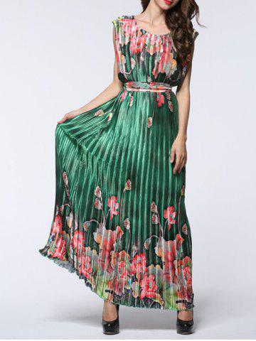 Sale Boho Maxi Floral Pleated Flowy Beachwear Dress - 6XL GREEN Mobile