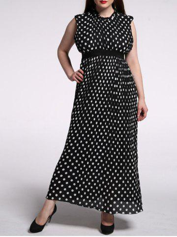 Chic Plus Size Pleated Ruffled Long Polka Dot Dress BLACK 6XL