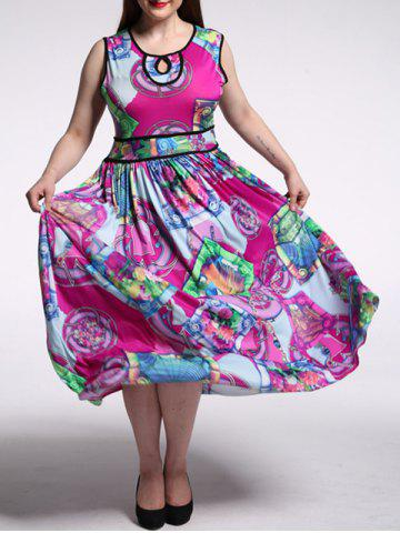 Online Plus Size Abstract Print High Waist Dress