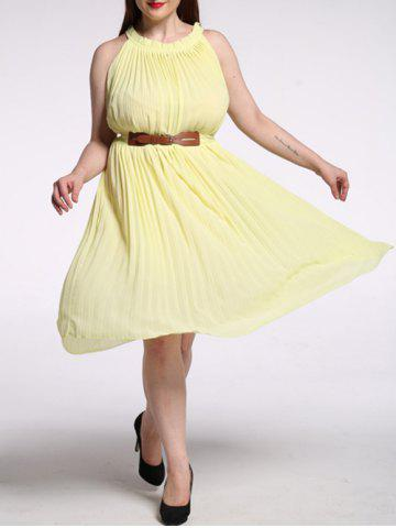Trendy Plus Size Pleated Solid Color Chiffon Dress
