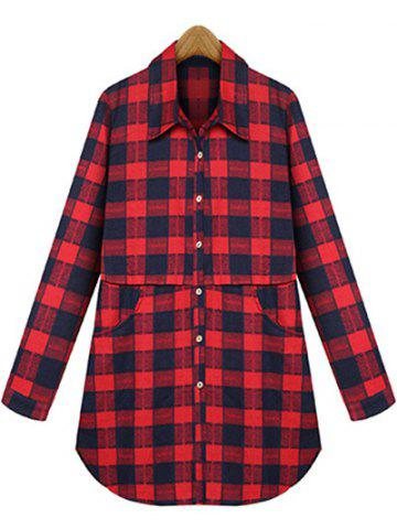 Unique Plus Size Checked Pockets Long Sleeves Shirt RED 4XL
