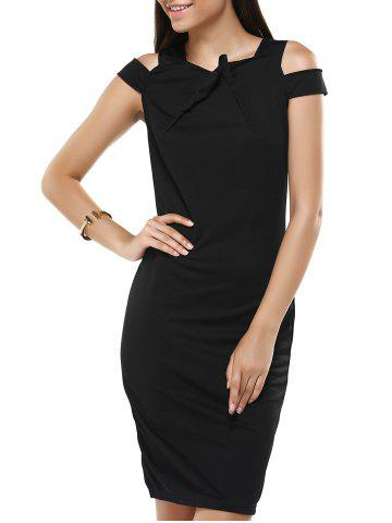 Pure Color Hollow Out Bodycon Dress For Women