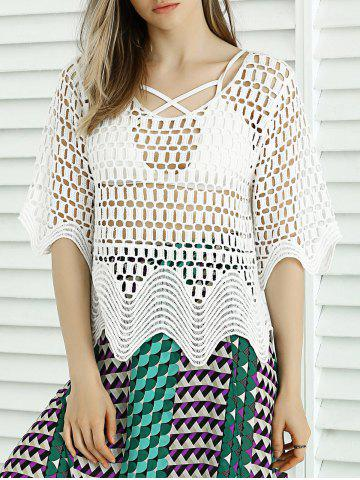 Fashion Sweet Wave Hem Lace Crochet See-Through Cover Up