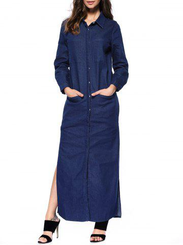 Denim Long Sleeve Shirt Maxi Dress - Deep Blue - Xl