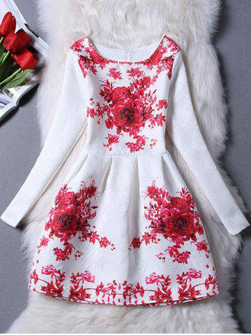 Charming Floral Print Slimming Women's Dress - Red - S