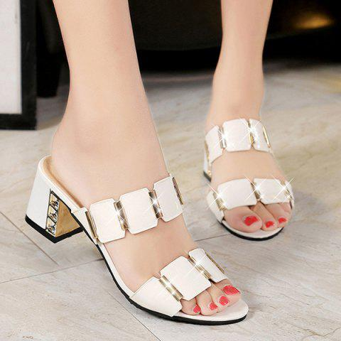 Latest Trendy Block Heel and Metal Design Slippers For Women