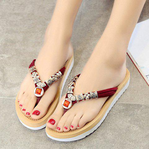 Store Simple Suede and Artificial Stone Design Slippers For Women - 40 WINE RED Mobile