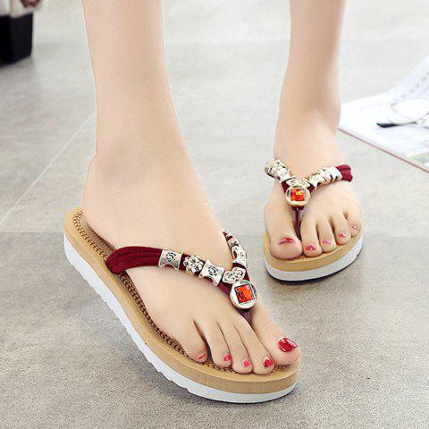 Online Simple Suede and Artificial Stone Design Slippers For Women - 40 WINE RED Mobile