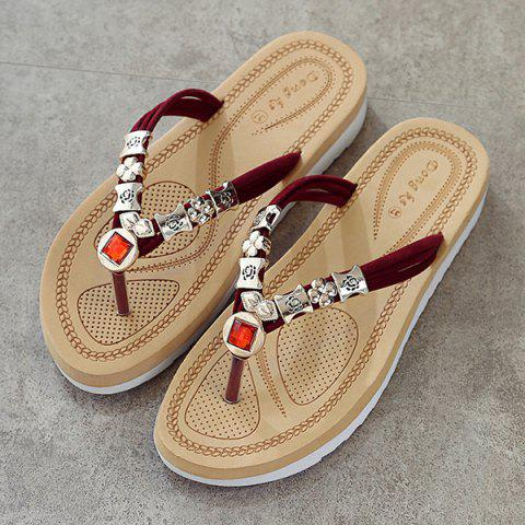 Hot Simple Suede and Artificial Stone Design Slippers For Women - 40 WINE RED Mobile