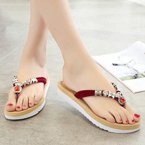 Buy Simple Suede and Artificial Stone Design Slippers For Women - 40 WINE RED Mobile