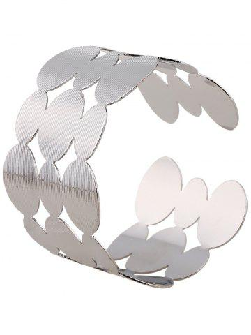 Cut Out Tiered Round Cuff Bracelet - Silver